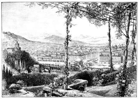 turin: 19th century engraving of view of Turin, Italy, photographed from a book  titled
