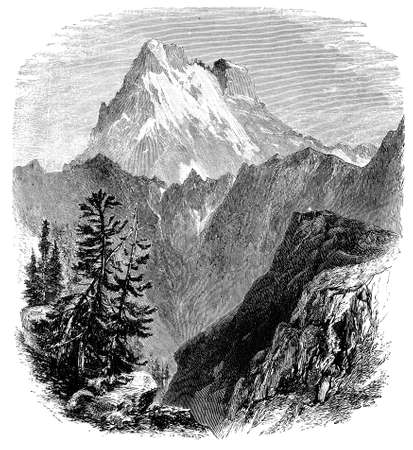 19th century engraving of Monte Viso, Italy, photographed from a book  titled