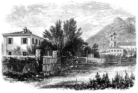 rural scene: 19th century rural scene, Italy, photographed from a book  titled