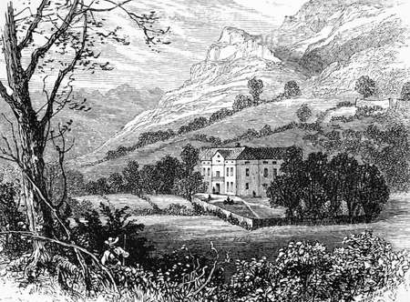 19th century engraving of a rural valley, Italy, photographed from a book  titled