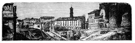 19th century engraving of Rome, Italy