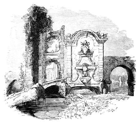 19th century engraving of a ruined fountain near Rome, Italy Stok Fotoğraf