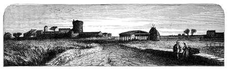 rural scene: 19th century engraving of a rural Italian scene