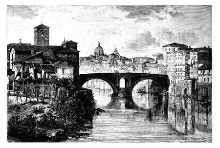 19th century view of the Tiber River and Ponte Fabricio, Rome, Italy Stok Fotoğraf