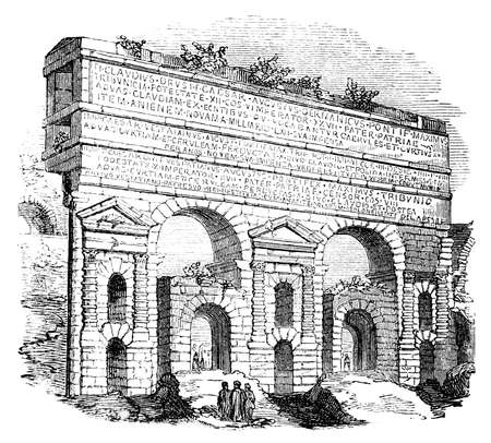 19th century engraving of the Claudian aqueducts, Rome, Italy