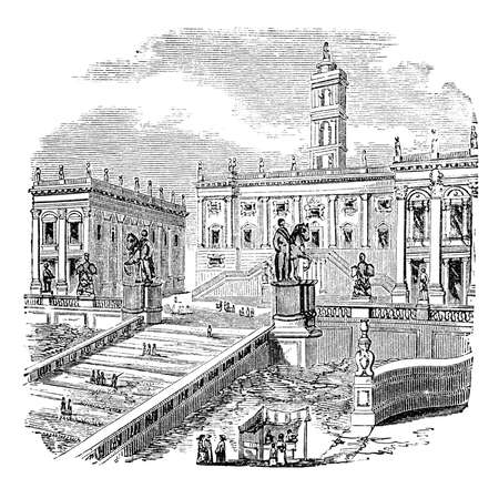 19th century engraving of the Capitol, Rome, Italy