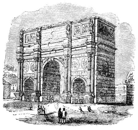 19th century engraving of the Arch of Constantine, Rome, Italy