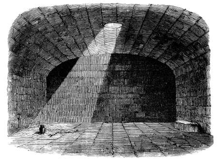 prison cell: 19th century engraving of a prison cell