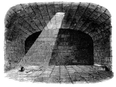 cellule prison: Gravure du 19e siècle, d'une cellule de prison