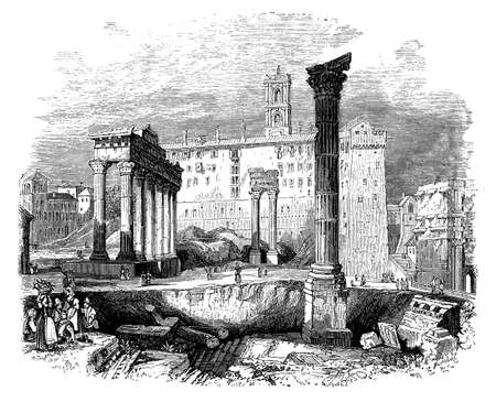 roman pillar: 19th century engraving of a view of the Forum, Rome, Italy Stock Photo