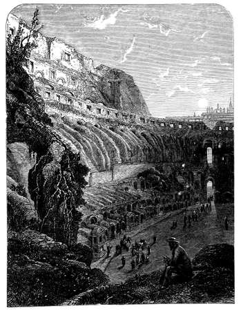 colosseum: 19th century engraving of the Colosseum, Rome, Italy