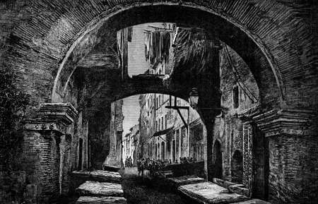 19th century engraving of a Roman street scene, Italy