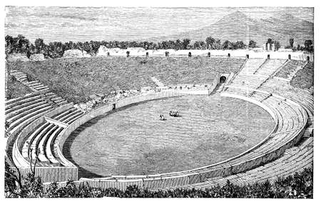 19th century engraving of an ancient Roman amphitheatre Stok Fotoğraf - 42499727