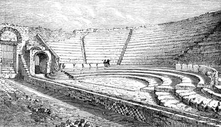 19th century engraving of an ancient Roman amphitheatre Stok Fotoğraf - 42499736