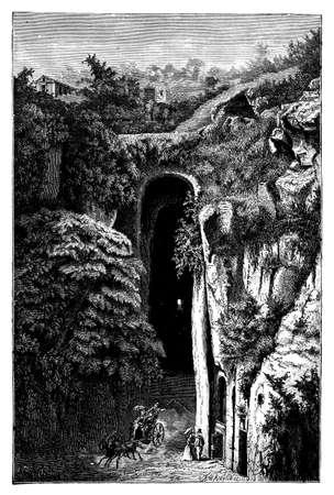 tomb: 19th century engraving of romantic scene at Virgils Tomb, Naples