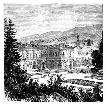 architecture drawing: 19th century engraving of Palazzo Pitti, Florence, Italy Stock Photo