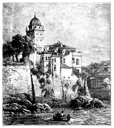19th century view of Genoa, Italy