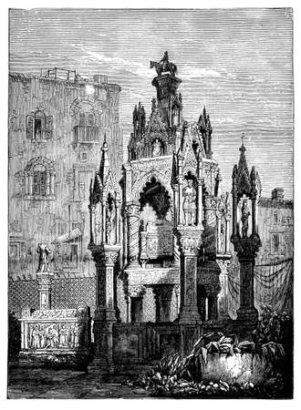 the courtyard: 19th century engraving of a courtyard at Doges Palace, Venice, Italy