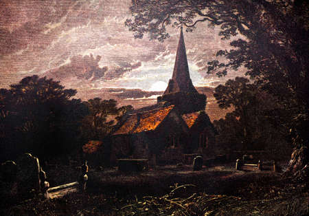 haloween: 19th century engraving of a village church, England Stock Photo
