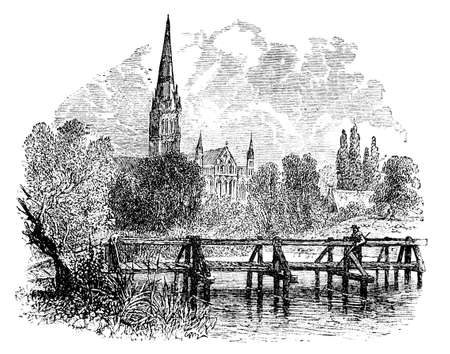 jetty: 19th century engraving of Salisbury Cathedral, UK