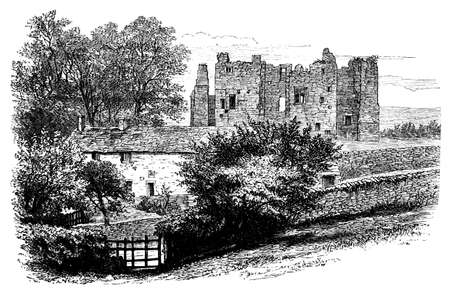 19th: 19th century engraving of Bolton Abbey, Yorkshire, UK