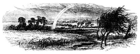 english countryside: 19th century engraving of an English countryside