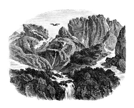 cascade mountains: Victorian engraving of a Greek mountain landscape. Digitally restored image from a mid-19th century Encyclopaedia.