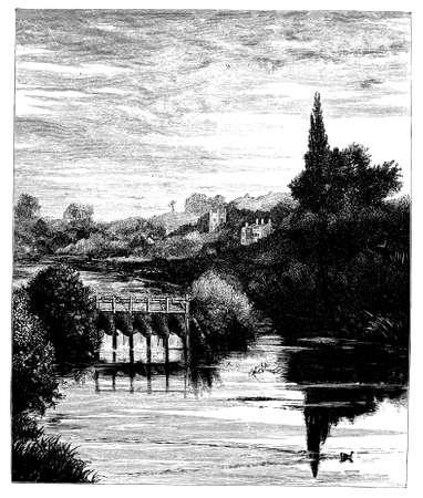 berkshire: 19th century engraving of Caversham, Berkshire, UK