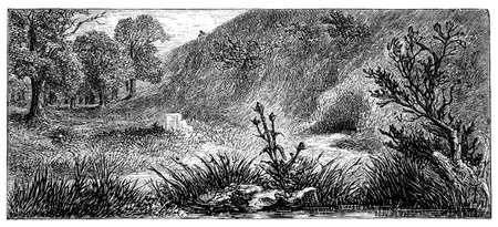 19 世紀英国テームズ川の頭の彫刻 写真素材