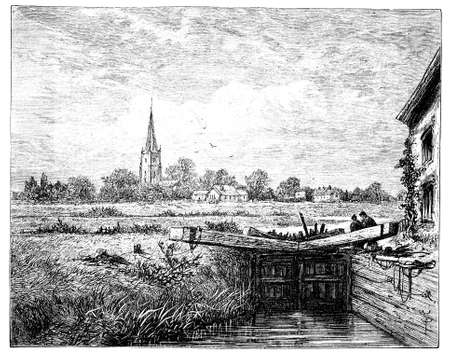spire: 19th century engraving of Lechlade, Gloucestershire, UK