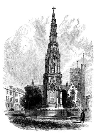 oxford: 19th century engraving of Martyrs Memorial, Oxford, UK