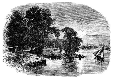 oxford: 19th century engraving of the Cherwell River near Oxford, UK Stock Photo