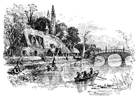 thatch: 19th century engraving of Neneham Courtenay, Oxfordshire, UK