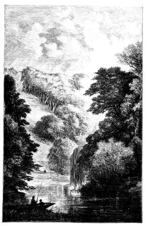 thames: 19th century engraving of the Thames River, UK