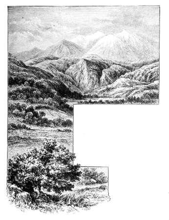 ギリシャの山の風景のビクトリア朝の彫刻。デジタル中間第 19 世紀の百科事典からイメージを復元します。 写真素材