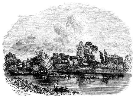 berkshire: 19th century engraving of Bray church, Berkshire, UK