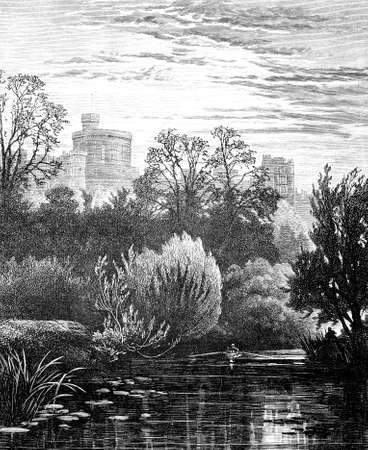 berkshire: 19th century engraving of Windsor Castle, Berkshire, UK