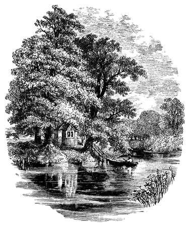 rowboat: 19th century engraving of Magna Carta Island, Berkshire, UK