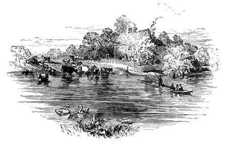 19th century engraving of Laleham ferry, Surrey, UK