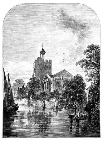 19th century engraving of St. Marys Church, Twickenham, London, UK