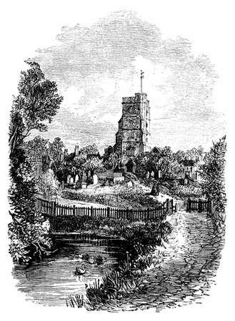 creek: 19th century engraving of All Saints Church, Fulham, London, UK