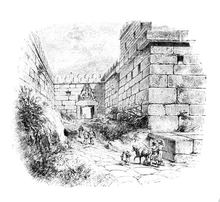 Gravure victorienne de la Porte des Lions, Mycènes, Grèce Banque d'images - 42499840