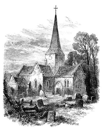 haloween: 19th century engraving of St. Giles Church, Horsted Keynes, West Sussex, UK