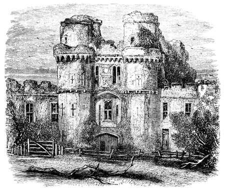 19th century engraving of Hurstmonceux Castle, East Sussex, UK Stok Fotoğraf