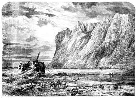 coast: 19th century engraving of the south coast of England