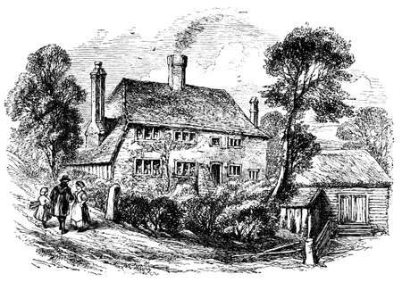 west sussex: photographed from a bo19th century engraving of a village house, Midhurst, West Sussex, UKok  titled