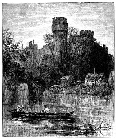 19th century engraving of Warwick Castle, UK Фото со стока