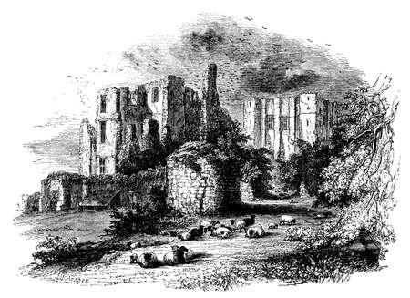 warwickshire: 19th century engraving of Kenilworth Castle, Warwickshire, UK Stock Photo