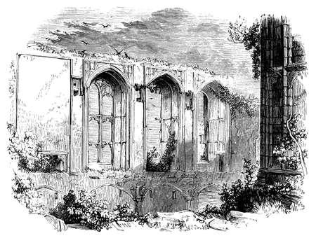 19th century engraving of Kenilworth Castle, Warwickshire, UK Zdjęcie Seryjne