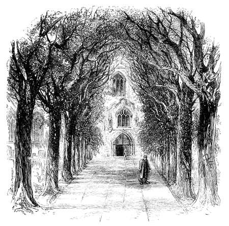 19th century engraving of the Church of the Holy Trinity, Stratford-upon-Avon, UK Фото со стока